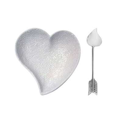 "Mariposa ""First Comes Love"" Ceramic Heart Dish and Arrow Spoon Set , , default"