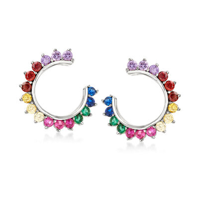 .85 ct. t.w. Multicolored CZ C-Hoop Earrings in Sterling Silver, , default