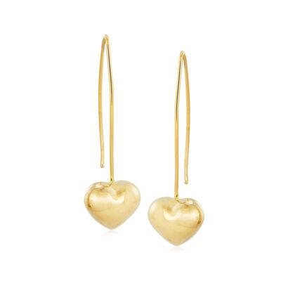 Italian 14kt Yellow Gold Heart Drop Earrings, , default