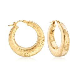 "Italian 14kt Yellow Gold Hammered Hoop Earrings. 1""., , default"