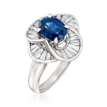 C. 1980 Vintage 2.06 Carat Sapphire and .83 ct. t.w. Diamond Ring in Platinum. Size 6