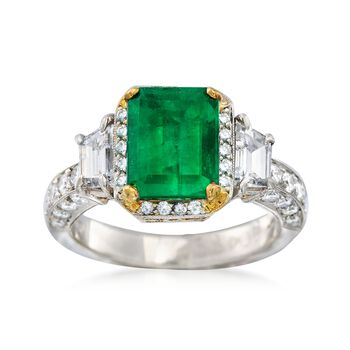 C. 1990 Vintage Michael Beaudry 2.45 Carat Emerald and 1.50 ct. t.w. Diamond Ring in Platinum. Size 6, , default