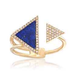 Lapis and .16 ct. t.w. Diamond Open-Space Double Triangle Ring in 14kt Gold, , default