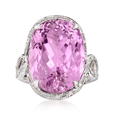 25.00 Carat Kunzite and .11 ct. t.w. Diamond Halo Ring in 14kt White Gold
