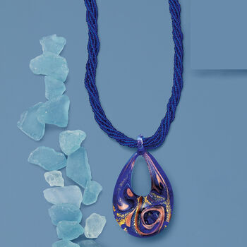 Italian Blue Murano Pendant Necklace in 18kt Gold Over Sterling, , default