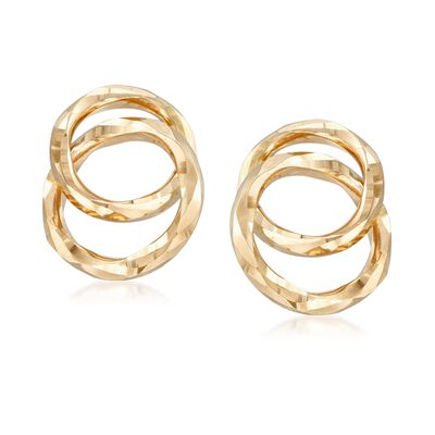 14kt Yellow Gold Double Open Circle Drop Earrings, , default