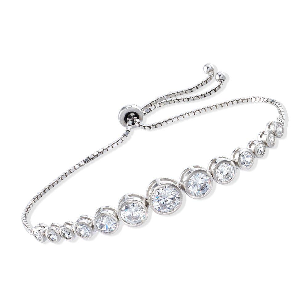 3a685b496c8a21 4.85 ct. t.w. Bezel-Set Graduated CZ Bolo Bracelet in Sterling ...