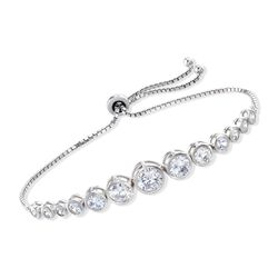 4.85 ct. t.w. Bezel-Set Graduated CZ Bolo Bracelet in Sterling Silver, , default