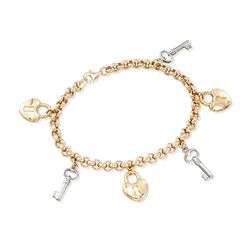 "14kt Two-Tone Gold Heart Lock and Key Charm Bracelet. 7"", , default"