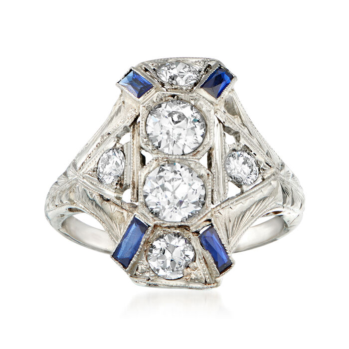 C. 1950 Vintage 1.28 ct. t.w. Diamond and .30 ct. t.w. Synthetic Sapphire Cocktail Ring in 18kt White Gold. Size 5.75