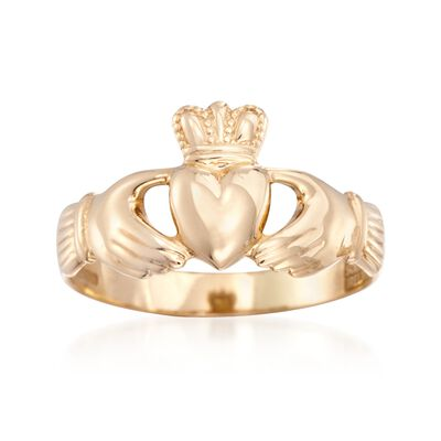 14kt Yellow Gold Claddagh Ring, , default