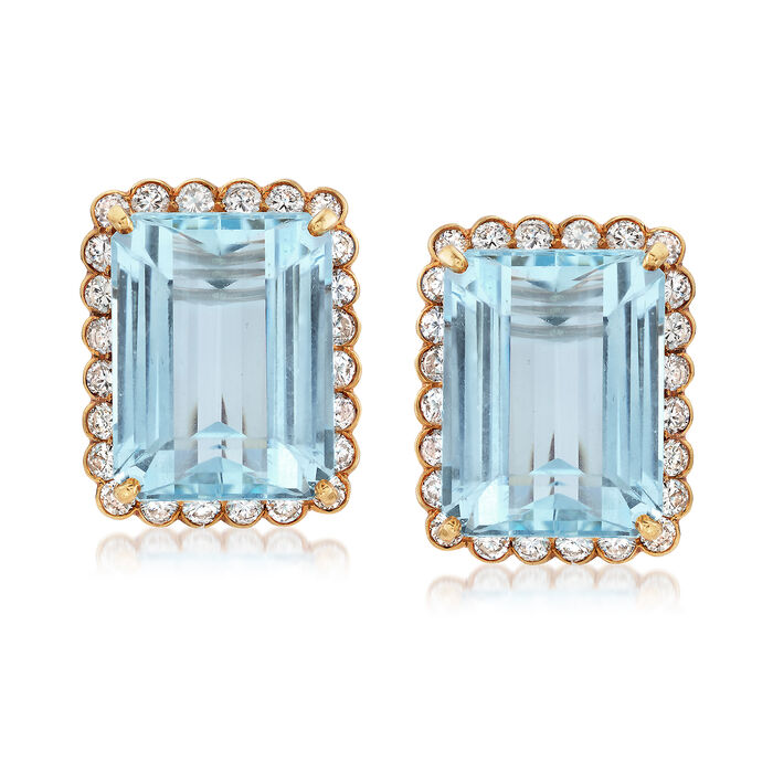 C. 1950 Vintage 42.00 ct. t.w. Aquamarine and 3.85 ct. t.w. Diamond Clip Earrings in 14kt Yellow Gold