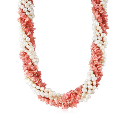 5-6mm Cultured Pearl and 3-8mm Rhodochrosite Torsade Necklace in Sterling Silver, , default
