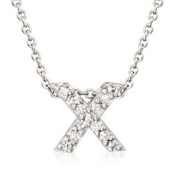 "Roberto Coin ""Tiny Treasures"" Diamond Accent Initial ""X"" Necklace in 18kt White Gold. 16"", , default"