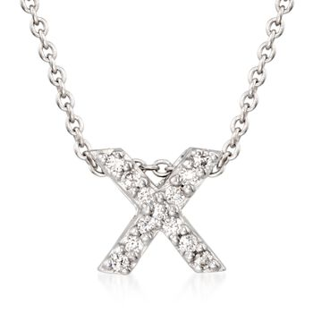 """Roberto Coin """"Tiny Treasures"""" Diamond Accent Initial """"X"""" Necklace in 18kt White Gold. 16"""", , default"""