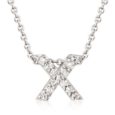 "Roberto Coin ""Tiny Treasures"" Diamond Accent Initial ""X"" Necklace in 18kt White Gold, , default"