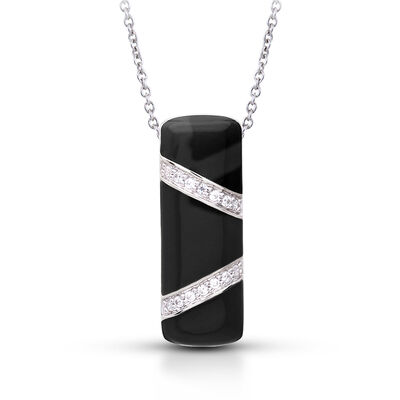 "Belle Etoile ""Glissando"" Black Enamel and .40 ct. t.w. CZ Pendant in Sterling Silver"
