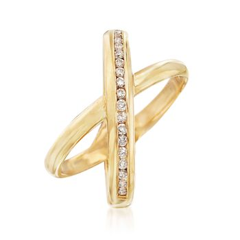 .27 ct. t.w. Diamond Crisscross Ring in 14kt Gold Over Sterling, , default