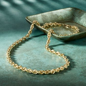 5.5mm 14kt Yellow Gold Rope Chain Necklace