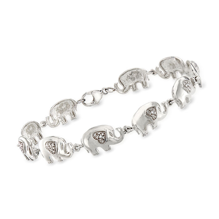 Sterling Silver Elephant Bracelet with Diamond Accents