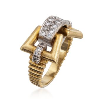 C. 1990 Vintage .75 ct. t.w. Diamond Buckle Ring in 18kt Two-Tone Gold. Size 6, , default