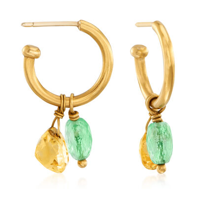 C. 1990 Vintage 2.80 ct. t.w. Tourmaline and 2.50 ct. t.w. Citrine Hoop Drop Earrings in 22kt Yellow Gold, , default