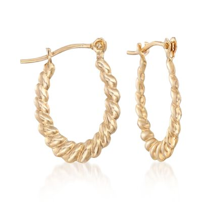 14kt Yellow Gold Roped Oval Hoop Earrings, , default