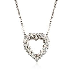 "Roberto Coin ""Tiny Treasures"" .26 ct. t.w. Diamond Heart Necklace in 18kt White Gold. 18"", , default"
