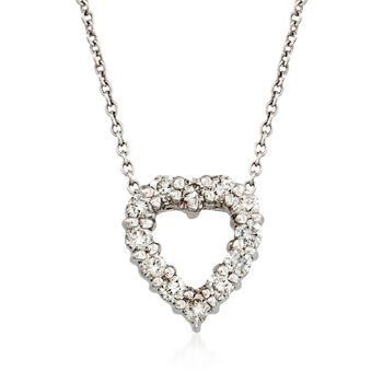 """Roberto Coin """"Tiny Treasures"""" .26 ct. t.w. Diamond Heart Necklace in 18kt White Gold. 18"""", , default"""