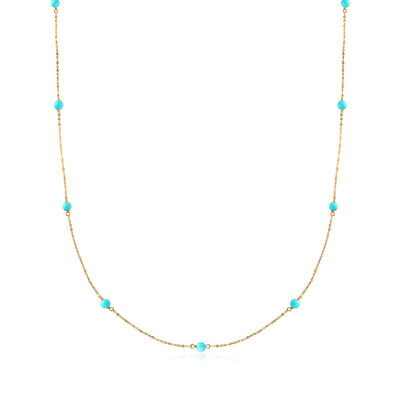 Italian 4mm Turquoise Station Necklace in 14kt Yellow Gold, , default