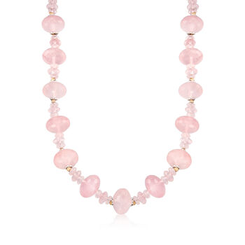 Rose Quartz Bead Necklace With Sterling Silver and 14kt Yellow Gold, , default