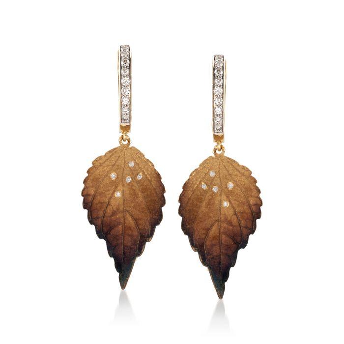 Simon G. .19 ct. t.w. Diamond Leaf Drop Earrings in 18kt Yellow Gold, , default