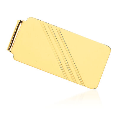 14kt Yellow Gold Three-Initial Engravable Money Clip, , default