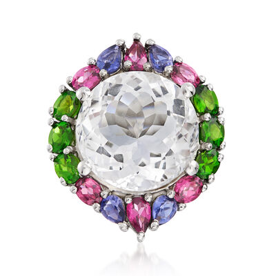 Rock Crystal and 2.70 ct. t.w. Multi-Gemstone Ring in Sterling Silver