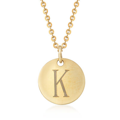 "14kt Yellow Gold Engraved Disc Necklace With ""K"" Initial, , default"