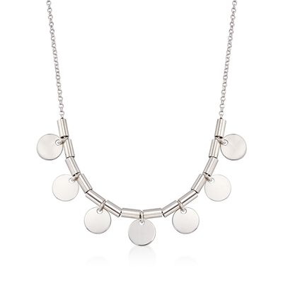Italian Sterling Silver Bead and Disc Drop Necklace, , default