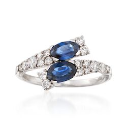 1.20 ct. t.w. Sapphire and .55 ct. t.w. Diamond Bypass Ring in 14kt White Gold, , default