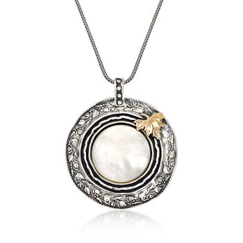 """Mother-Of-Pearl Leaf Pendant Necklace in Sterling Silver and 14kt Yellow Gold. 18"""", , default"""