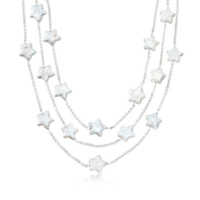 11-12mm Cultured Star Pearl Three-Strand Necklace in Sterling Silver, , default