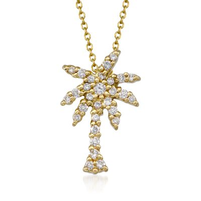 "Roberto Coin ""Tiny Treasures"" .17 ct. t.w. Diamond Palm Tree Pendant Necklace in 18kt Yellow Gold, , default"