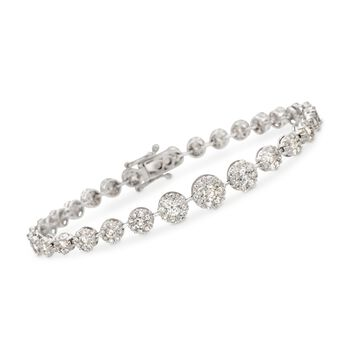 "4.63 ct. t.w. Diamond Graduated Halo Bracelet in 18kt White Gold. 7.25"", , default"