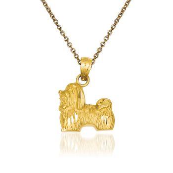 "14kt Yellow Gold Shih Tzu Pendant Necklace. 18"", , default"