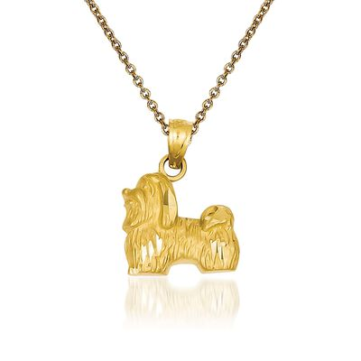 14kt Yellow Gold Shih Tzu Pendant Necklace, , default