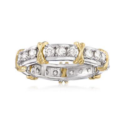 1.00 ct. t.w. Diamond X Station Eternity Band in 14kt Two-Tone Gold