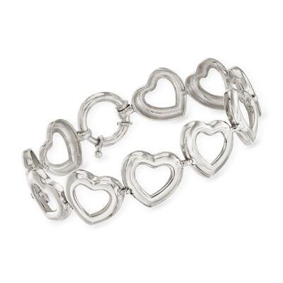 Sterling Silver Heart Bracelet, , default