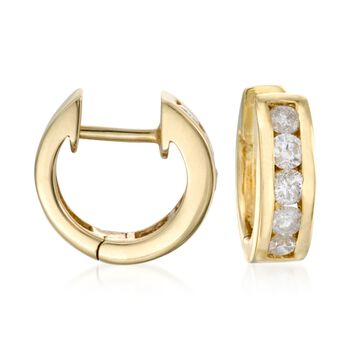 ".75 ct. t.w. Diamond Hoop Earrings in 14kt Yellow Gold. 3/8"", , default"