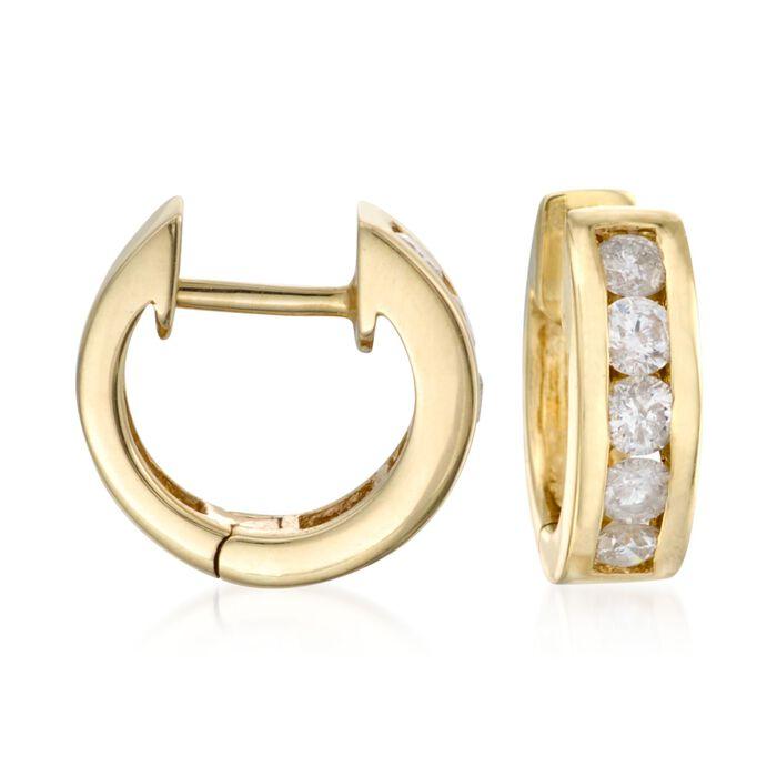 """.75 ct. t.w. Diamond Hoop Earrings in 14kt Yellow Gold. 3/8"""", , default"""