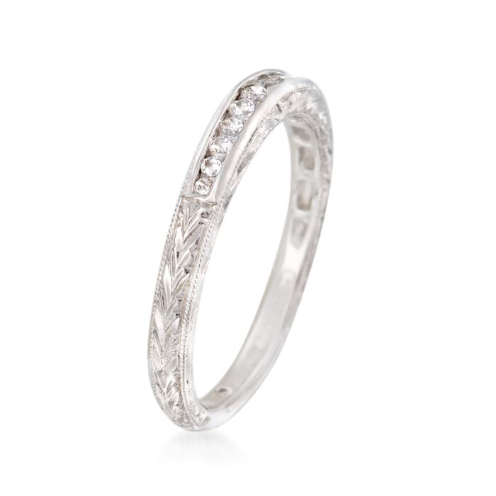 Gabriel Designs .15 ct. t.w. Diamond Engraved Wedding Ring in 14kt White Gold