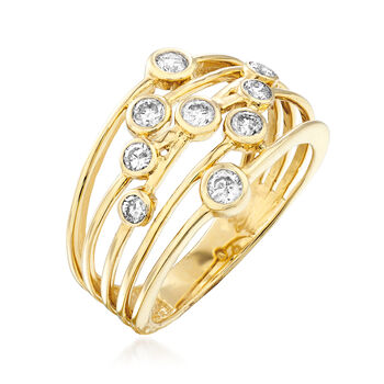 .50 ct. t.w. Diamond Bezel-Set Multi-Row Ring in 14kt Yellow Gold, , default
