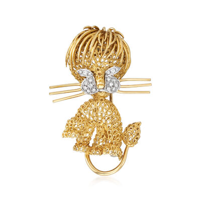 C. 1980 Vintage Piero Milano .25 ct. t.w. Diamond Lion Pin in 18kt Yellow Gold, , default